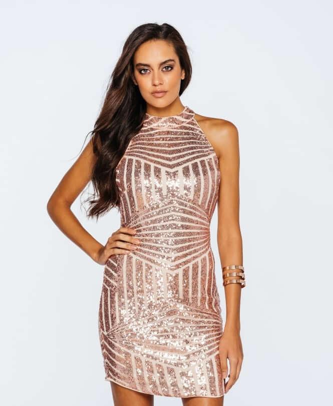 YURA Sukienka w Cekiny Chocker Nude_DRS7168NDE_200_01