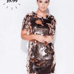 Secret Wish Boutique Sukienka w Złota w Cekiny