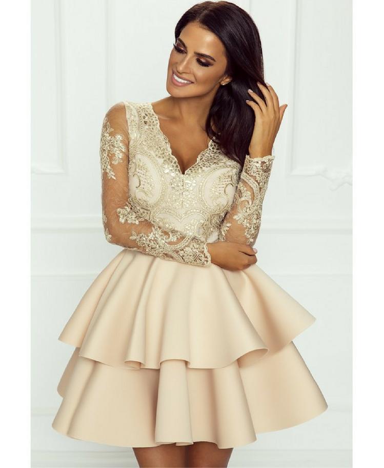 Emo Sukienka Rozkloszowana Ecru Beż Trzy Falbany Secret Wish Boutique-2
