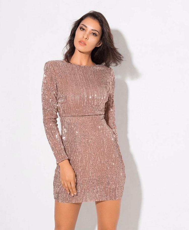 Sukienka w Cekiny Beż Secret Wish Boutique