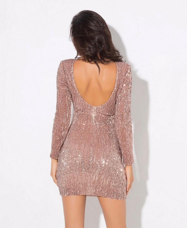 Sukienka w Cekiny Beż Secret Wish Boutique(1)
