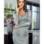 Sukienka Koronkowa Szara Koktajlowa z Długim Rękawem Secret Wish Boutique