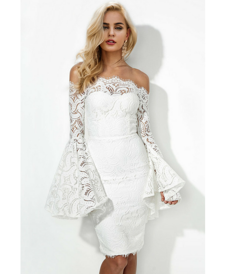 Vanilla Sukienka Hiszpanka Biała z Koronki Midi