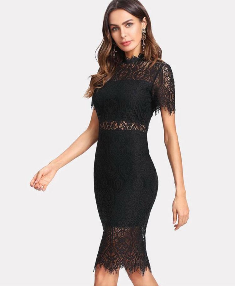 aef82cf518 Rome Sukienka Czarna z Koronki Mini z Krótkim Rękawem