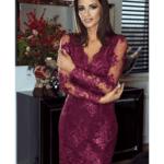 Sukienka Mini z Koronki Śliwkowa z Długim Rękawem Secret Wish Boutique