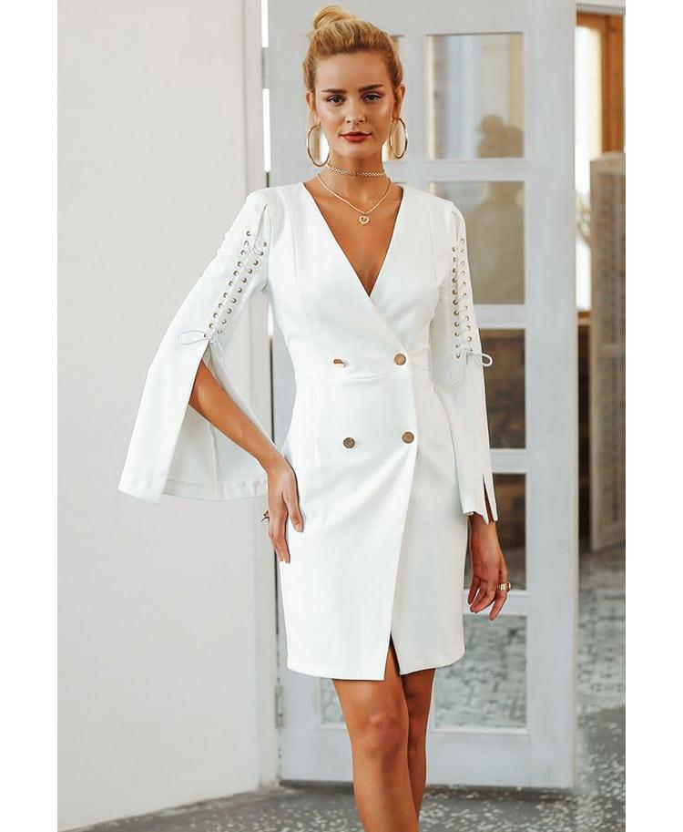 Brenda Sukienka Biała ze Złotymi Guzikami z Długim Rękawem