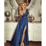 Sukienka Koronkowa Koktajlowa Maxi Morska:Petrol z Odsłoniętym Dekoltem Secret Wish Boutique-2