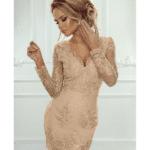 Sukienka Koronkowa Koktajlowa Złota Karmel z Odsłoniętym Dekoltem Secret Wish Boutique