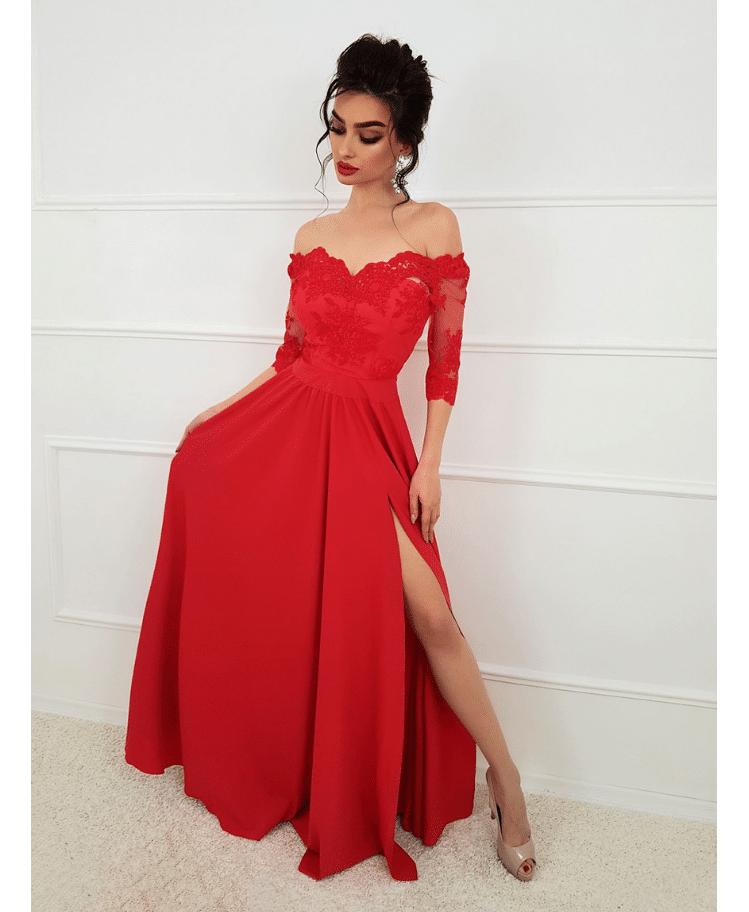 Sukienka Hiszpanka Koronkowa Czerwona Maxi Secret Wish Boutique