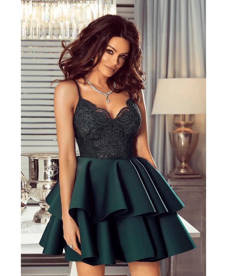 21df9f8dc02ed5 Sanibel Sukienka Szmaragdowa na Ramiączkach Rozkloszowana