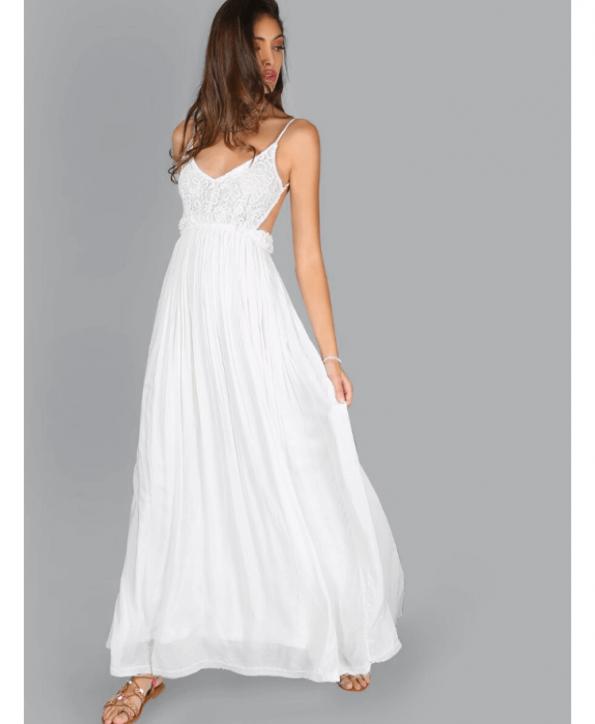 Secret Wish Boutique Sukienka Biała Koronkowa na Ramiączkach Odsłonięte Plecy Maxi Długa (1)