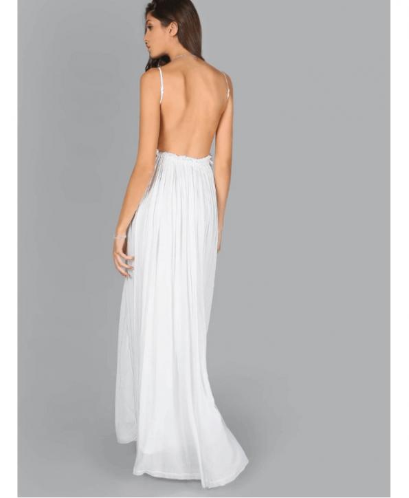 Secret Wish Boutique Sukienka Biała Koronkowa na Ramiączkach Odsłonięte Plecy Maxi Długa (2)