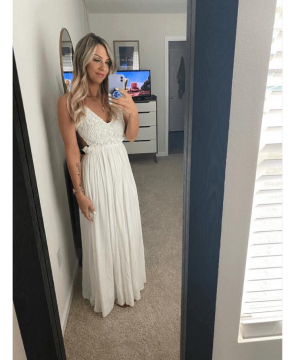Secret Wish Boutique Sukienka Biała Koronkowa na Ramiączkach Odsłonięte Plecy Maxi Długa (3)