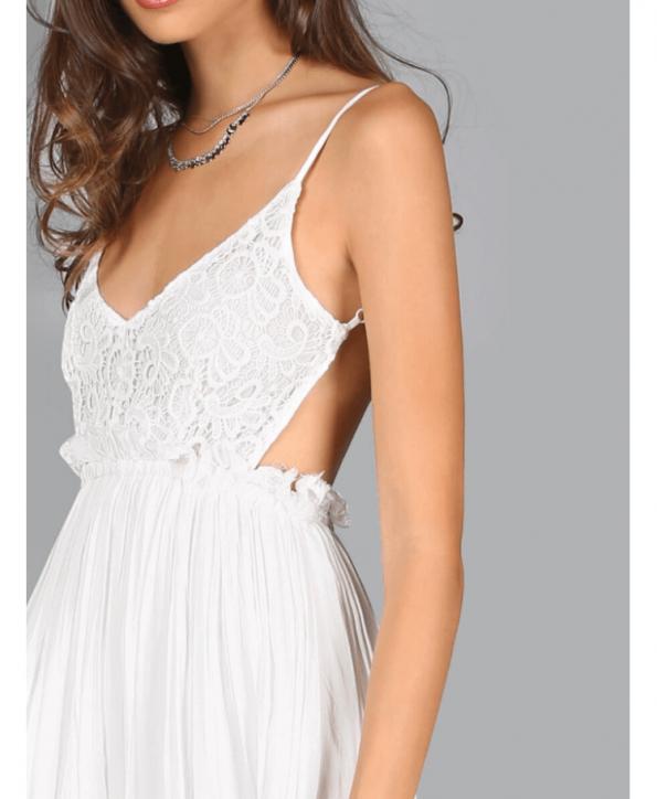 Secret Wish Boutique Sukienka Biała Koronkowa na Ramiączkach Odsłonięte Plecy Maxi Długa