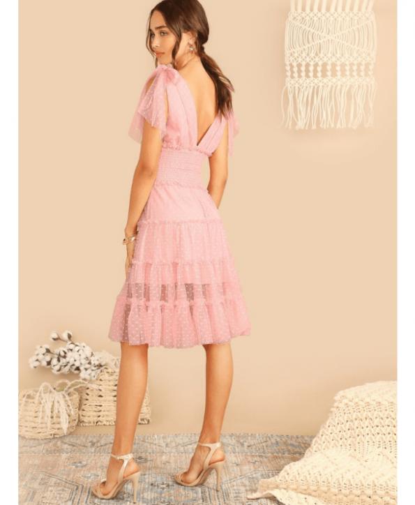 Secret Wish Boutique Sukienka Pudrowy Róż Tiulowa Bez Rękawów Midi (4)