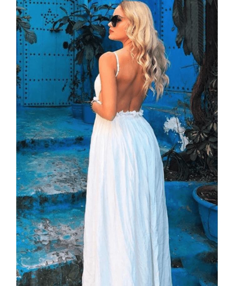 Sukienka Biała Długa Na Ramiączkach Odsłonięte Plecy na Ramiączkach Secret Wish Boutique (5) 2