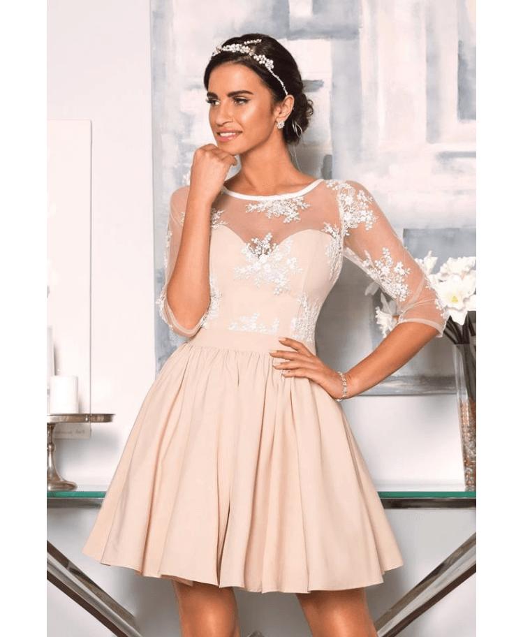 103f1360fb Oriana Sukienka Koronkowa Rozkloszowana z Rękawem Mini