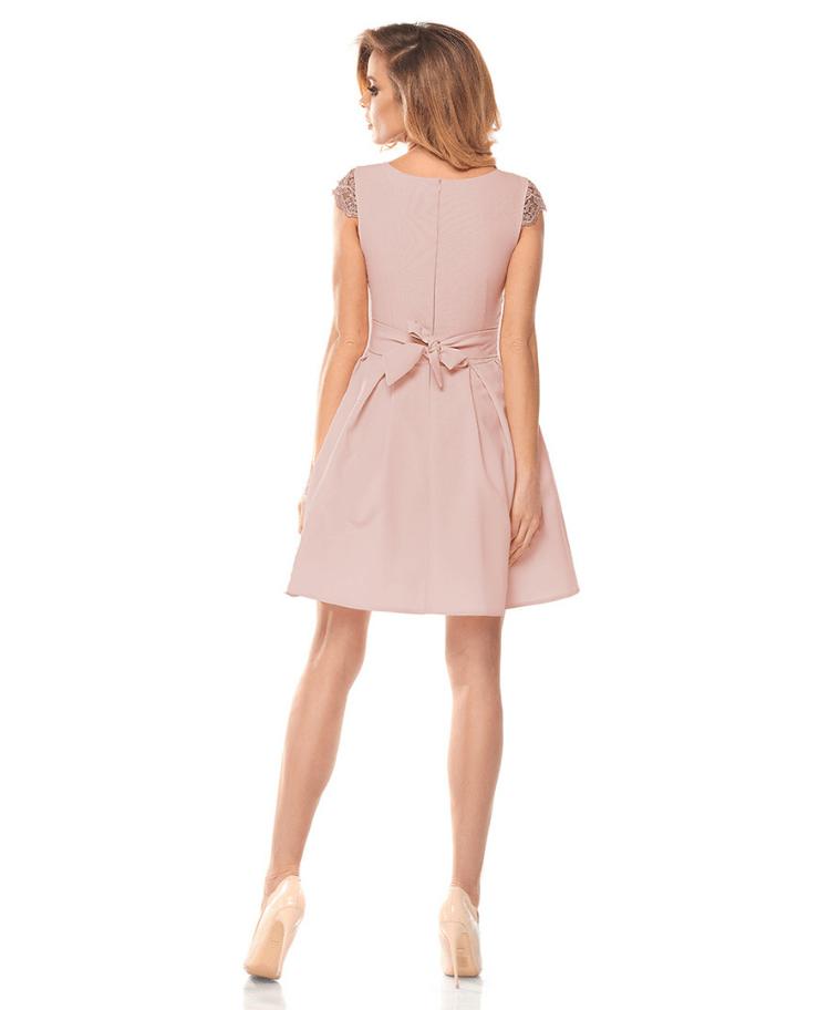 Sukienka Koronkowa Pudrowy Róż z Krótkim Rękawem Mini Secret Wish Boutique (1)