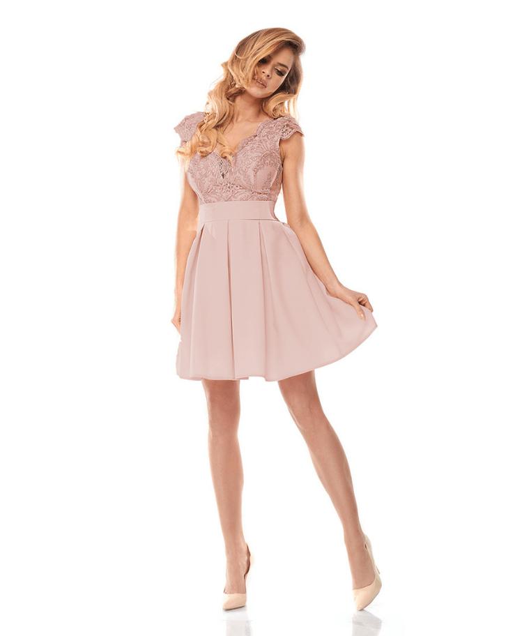 Sukienka Koronkowa Pudrowy Róż z Krótkim Rękawem Mini Secret Wish Boutique