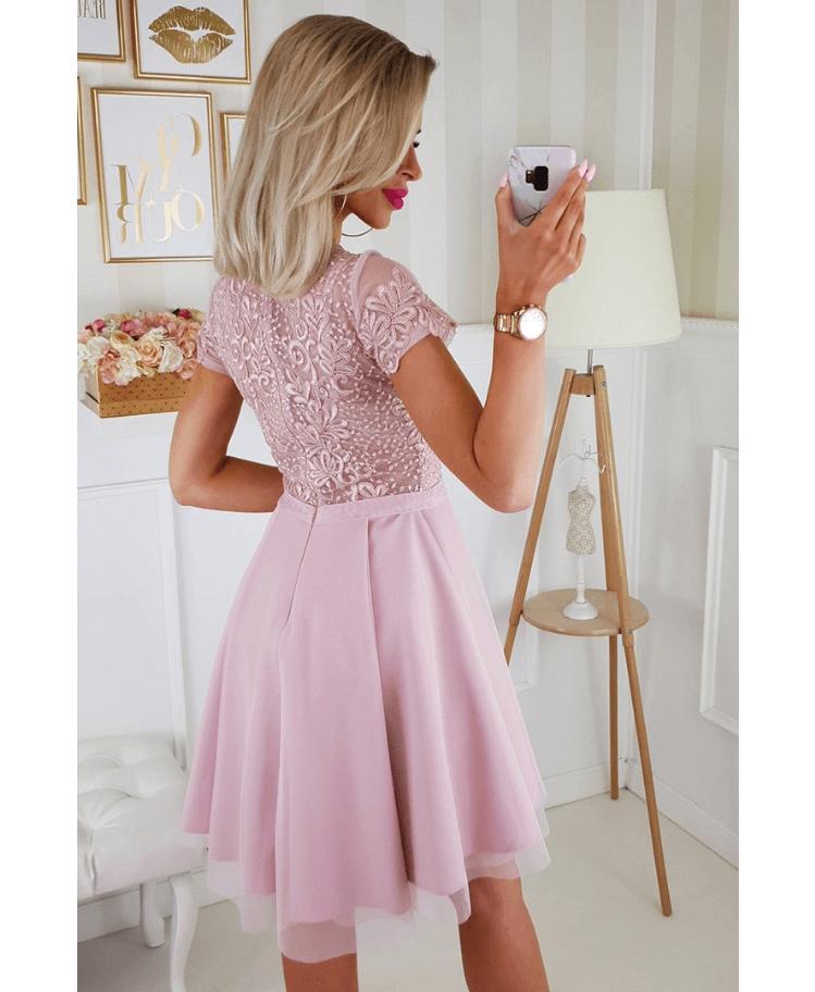 Sukienka Koronkowa Rozkloszowana Tiulowa Pudrowy Róż z Krótkim Rękawem Mini Secret Wish Boutique (2)