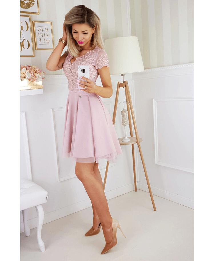 Sukienka Koronkowa Rozkloszowana Tiulowa Pudrowy Róż z Krótkim Rękawem Mini Secret Wish Boutique (3)