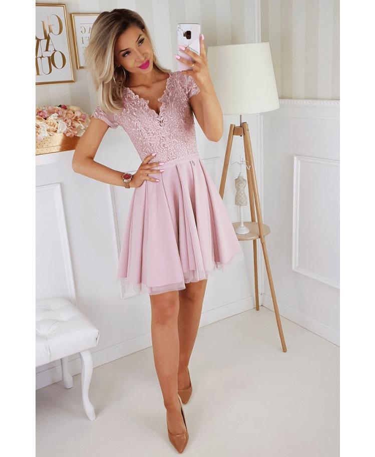 Sukienka Koronkowa Rozkloszowana Tiulowa Pudrowy Róż z Krótkim Rękawem Mini Secret Wish Boutique
