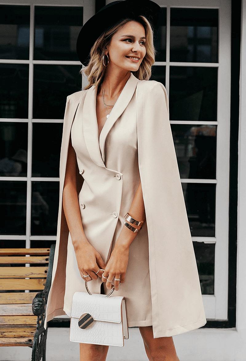 Emma Sukienka Marynarka Beżowa Z Długim Rękawem Mini