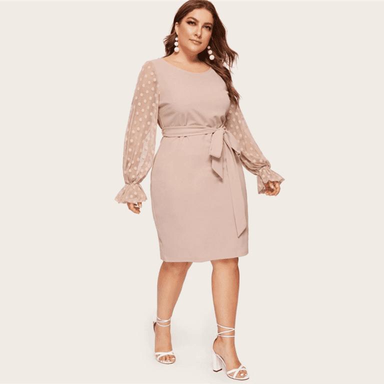 Secret Wish Boutique Sukienka Beżowa z Długim Rękawem Midi Plus Size