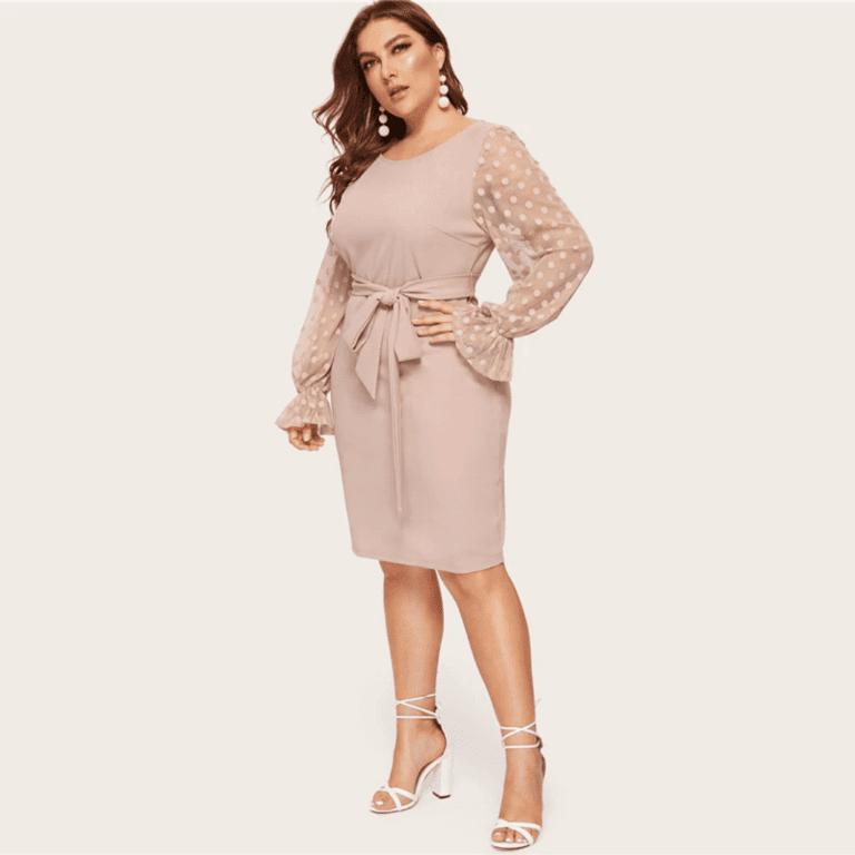 Secret Wish Boutique Sukienka Beżowa z Długim Rękawem Midi Plus Size_03