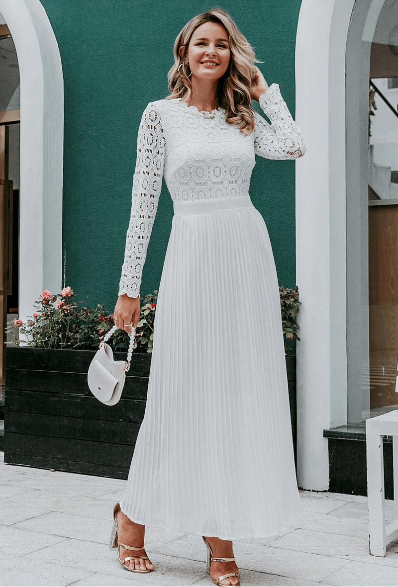Lilly Sukienka Koronkowa Biała z Długim Rękawem Maxi
