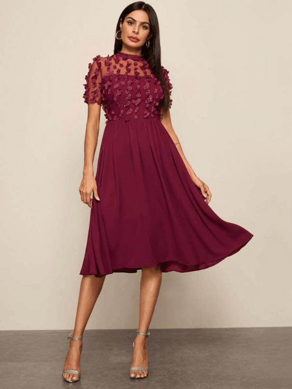 Secret Wish Boutique Sukienka Rozkloszowana Bordowa z Długim Rekawem Midi