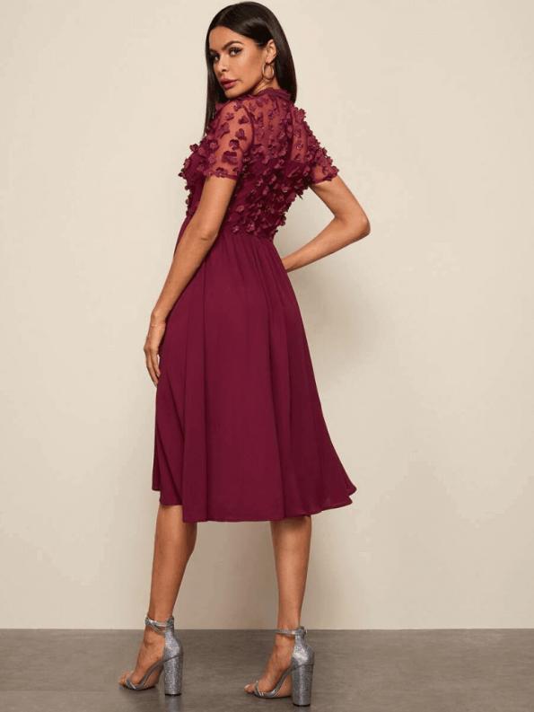 Secret Wish Boutique Sukienka Rozkloszowana Bordowa z Długim Rekawem Midi_01