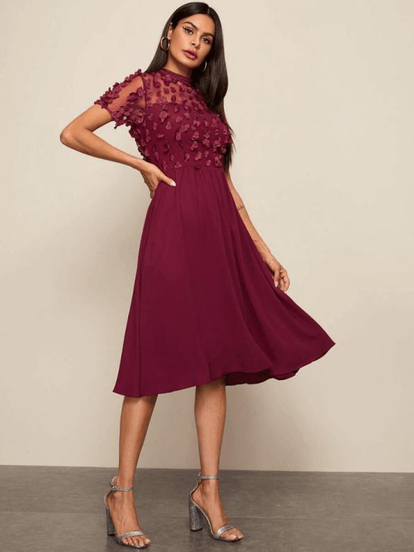 Secret Wish Boutique Sukienka Rozkloszowana Bordowa z Długim Rekawem Midi_02