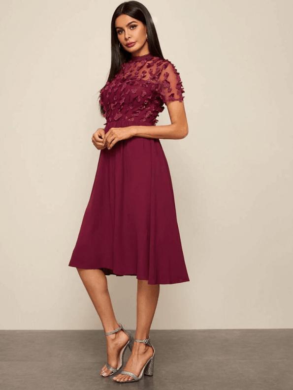 Secret Wish Boutique Sukienka Rozkloszowana Bordowa z Długim Rekawem Midi_03