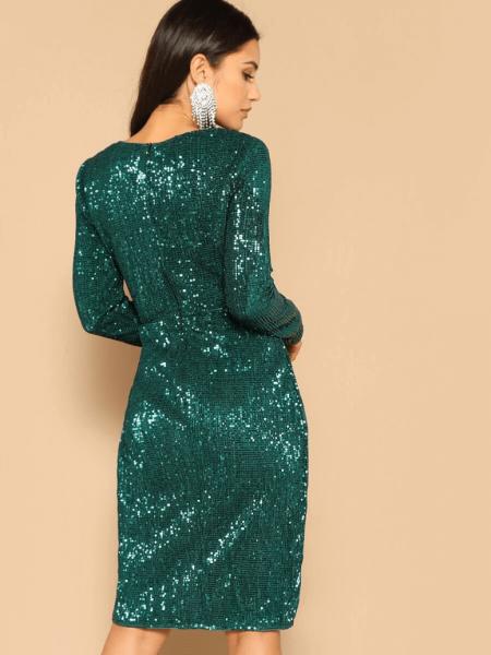 Sukienka Zielona/Butelkowa Zieleń w Cekiny Mini
