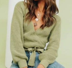 Jaki Wybrać Sweter na Jesień! Sweter Zielony Oliwkowy WIązany