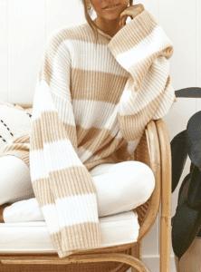 Jaki Wybrać Sweter na Jesień! Sweter Damski w Białe i Kremowe Paski