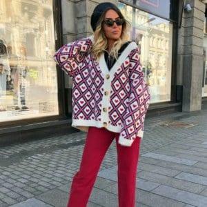 Jaki Wybrać Sweter na Jesień! Sweterek Fioletowy w Czerwone Serduszka