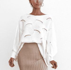 Jaki Wybrać Sweter na Jesień! Sweterek Biały Szeroki Over Size z Długim Rękawem