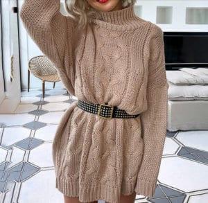 Jaki Wybrać Sweter na Jesień! Sweterek Cappuccino z Długim Rękawem
