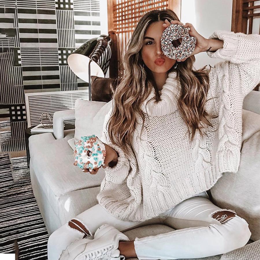 Sweter Kremowy z Długim Rękawem