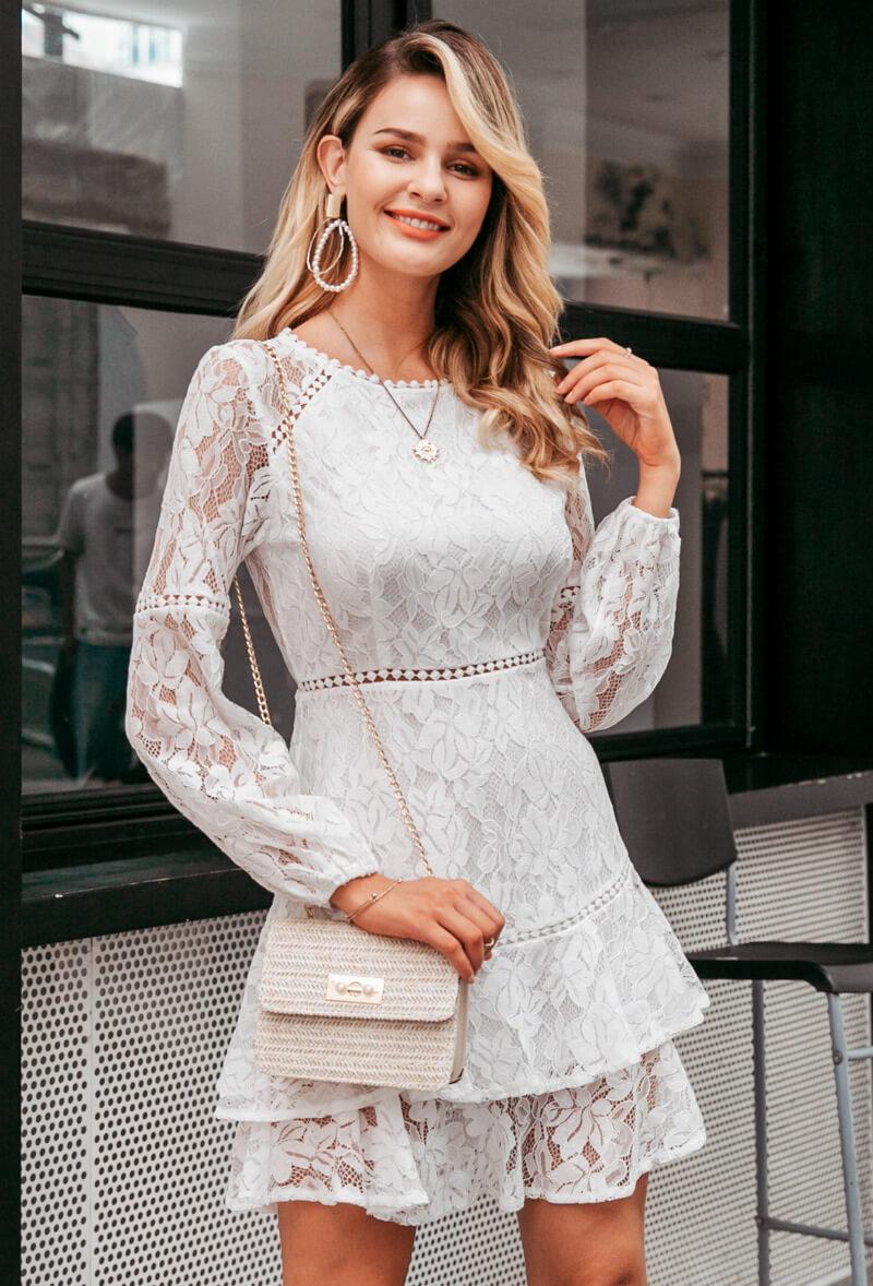 Secret Wish Boutique Sukienka Koronkowa Biała z Długim Rękawem Mini