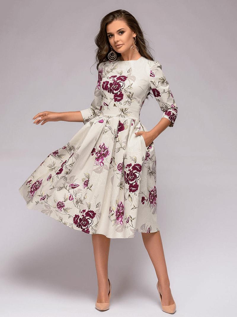 Sindy Sukienka Rozkloszowana Ecru w Kolorowe Kwiaty Midi_01