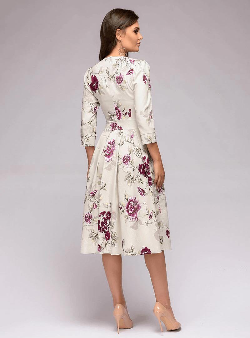 Sindy Sukienka Rozkloszowana Ecru w Kolorowe Kwiaty Midi_02