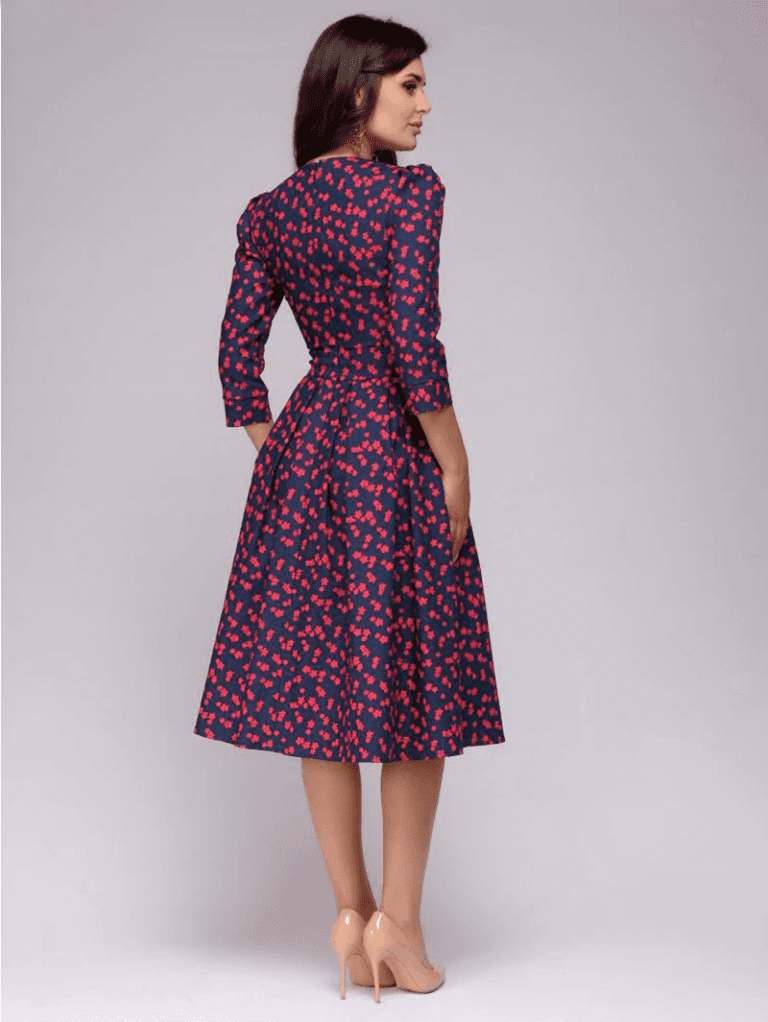 Sukienka Rozkloszowana Granatowa w Kolorowe Wzory Midi