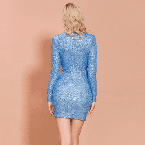 Sukienka Błękitna Niebieska Koktajlowa z Krótkim Rękawem Mini