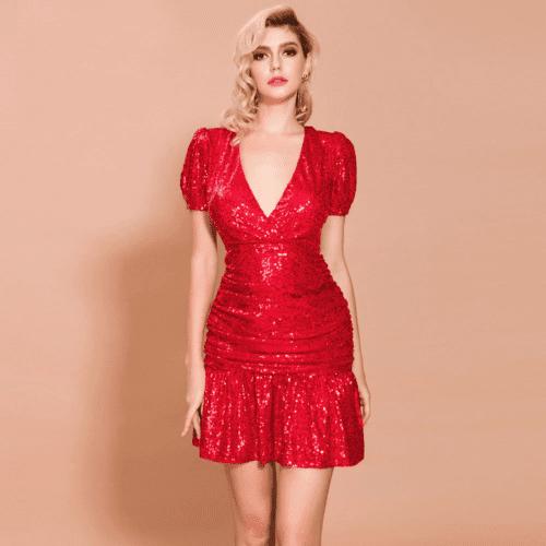 Sukienka Czerwona w Cekiny Z krótkim Rękawem Mini