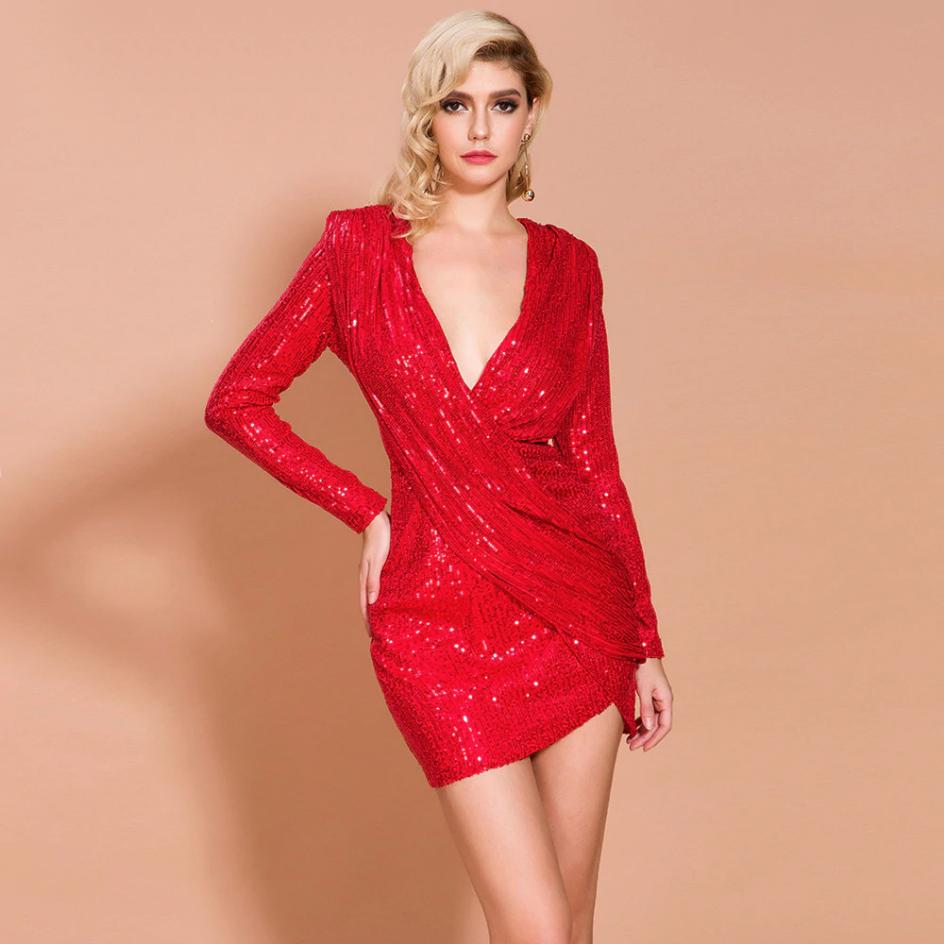 Sukienka Czerwona w Cekiny z Długim Rękawem Mini