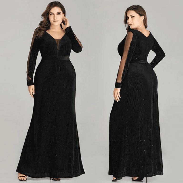 Secret Wish Boutique Sukienka Długa Czarna Plus Size dla Puszystych Maxi z Długim Rękawem