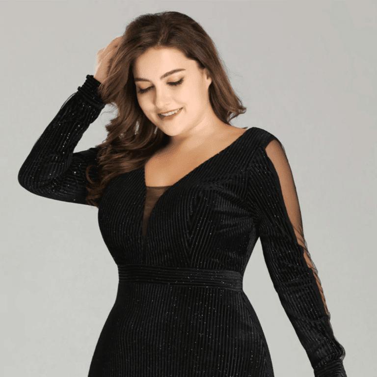 Secret Wish Boutique Sukienka Długa Czarna Plus Size dla Puszystych Maxi z Długim Rękawem_01